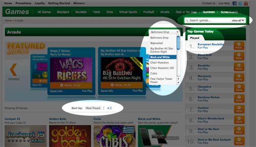 Games Sorting Options At Paddy Power