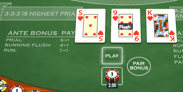 Three Card Brag Ante Game