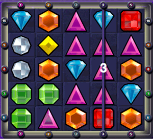 Bejeweled Vertical Win Line Example